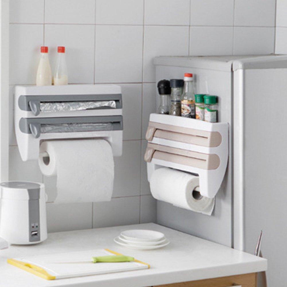 Amazon.com: Muti-Function Cling Film Cutter Dispenser Sauce Bottle Rack Wrap Paper Towel Storage Holder Plastic Kitchen (White): Kitchen & Dining