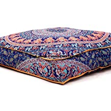 "Large Indian Meditation Floor Pillow Cover 35"" X 35"" Inch Elephant Mandala Ottoman Cushion Dog Bed Outdoor Sofa Day Bed Kids Teen Floor Pillow"