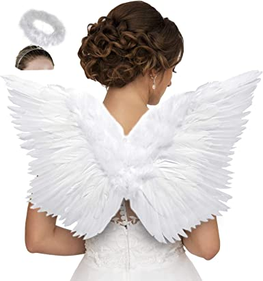 Details about  /Halloween Kids Adults Feather Halo Wings Fancy Christmas Cosplay Costume Set MP