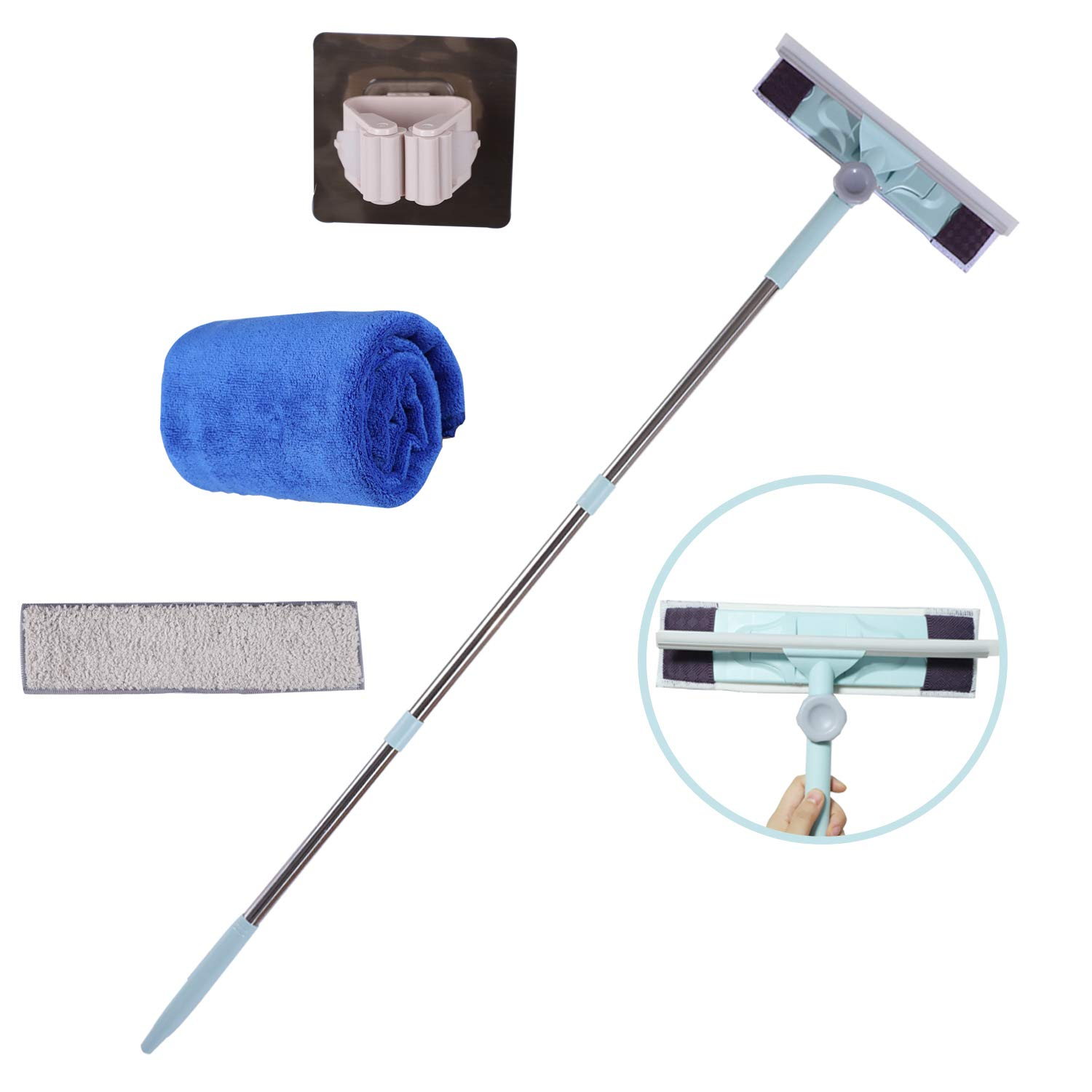 Midoneat 4 feet Squeegee and Microfiber Window Scrubber,Squeegee Cleaning kit,Window and Glass Cleaning kit,Including Microfiber Pad and Microfiber Dusting Towel and Window Cleaner Holder
