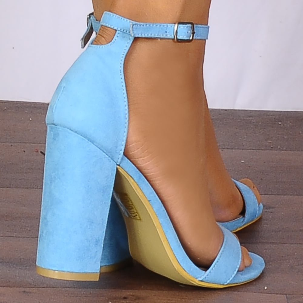 TURQUOISE BLUE BARELY THERE STRAPPY SANDALS PEEP TOES HIGH HEELS  ANKLE STRAP