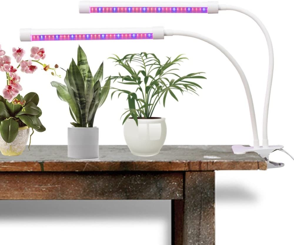 FlexLumen LED Grow Light for Indoor Plants Ultra Bright Red Blue Spectrum Super Strong Adjustable Gooseneck Dual Head with Clip 18 Watt Clamp On Lamp for Growing Hydroponics Greenhouse Gardening