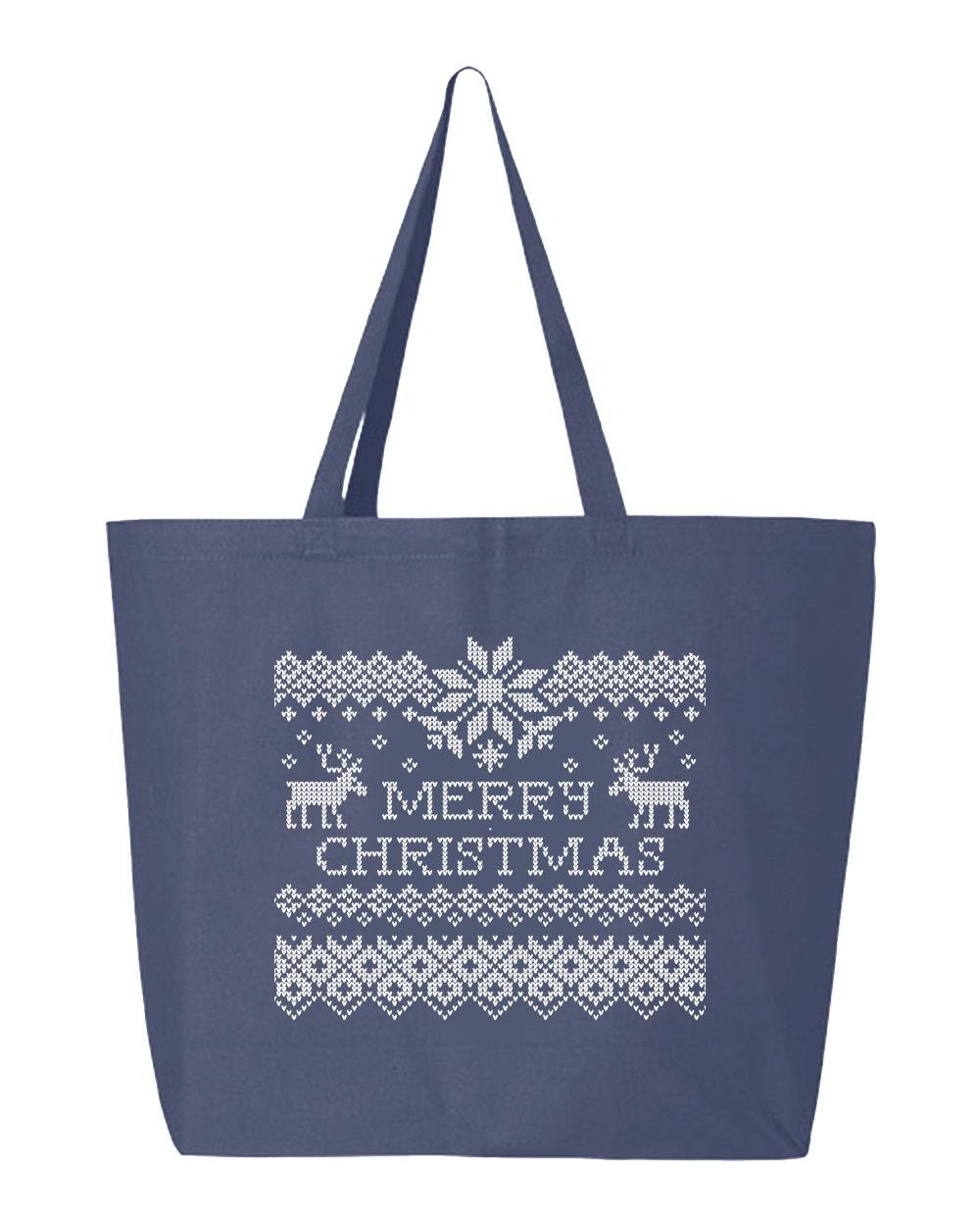 shop4ever Merry ChristmasトナカイHeavyキャンバストートバッグクロスステッチ再利用可能なショッピングバッグ10オンスジャンボ 25 oz ブルー S4E_1215_ChristRinds_TB_Q600_Navy_2 B072HGHJXF ネイビー|2 ネイビー