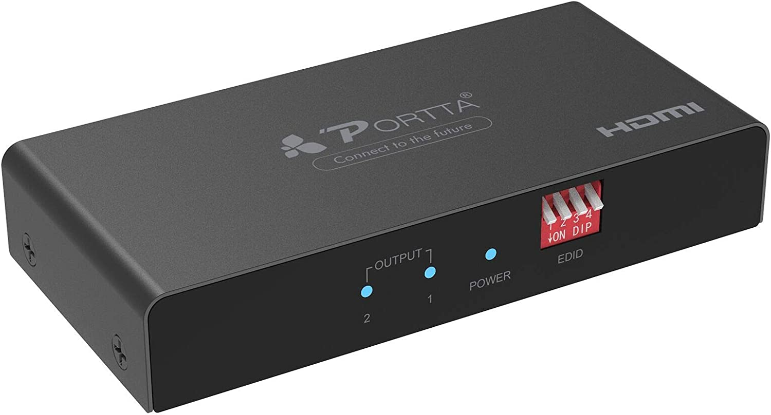 HDMI Splitter 1 in 2 out, Portta 4K@60Hz HDR 1x2 HDMI 2.0 Splitter w/EDID Setting Soporte YUV 4:4:4/HDMI 2.0a/HDCP 2.2/18Gbps/Cascadable for PS4/PS4 Pro/Xbox One S/Xbox One X/Roku TV 4K/Sky Q/PC