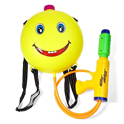 zhenyu Cute Smile Water Backpack Gun Outdoor Super Soaker Blaster Backpack Pressure Squirt Pool Toy Swimming Toys: Toys & Games