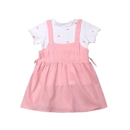 afa94d6b18 Amazon.com  Toddler Kid Baby Girl 2PCS Playwear Skirt Set Print Heart T- Shirt with Suspender Dress Outfit  Clothing