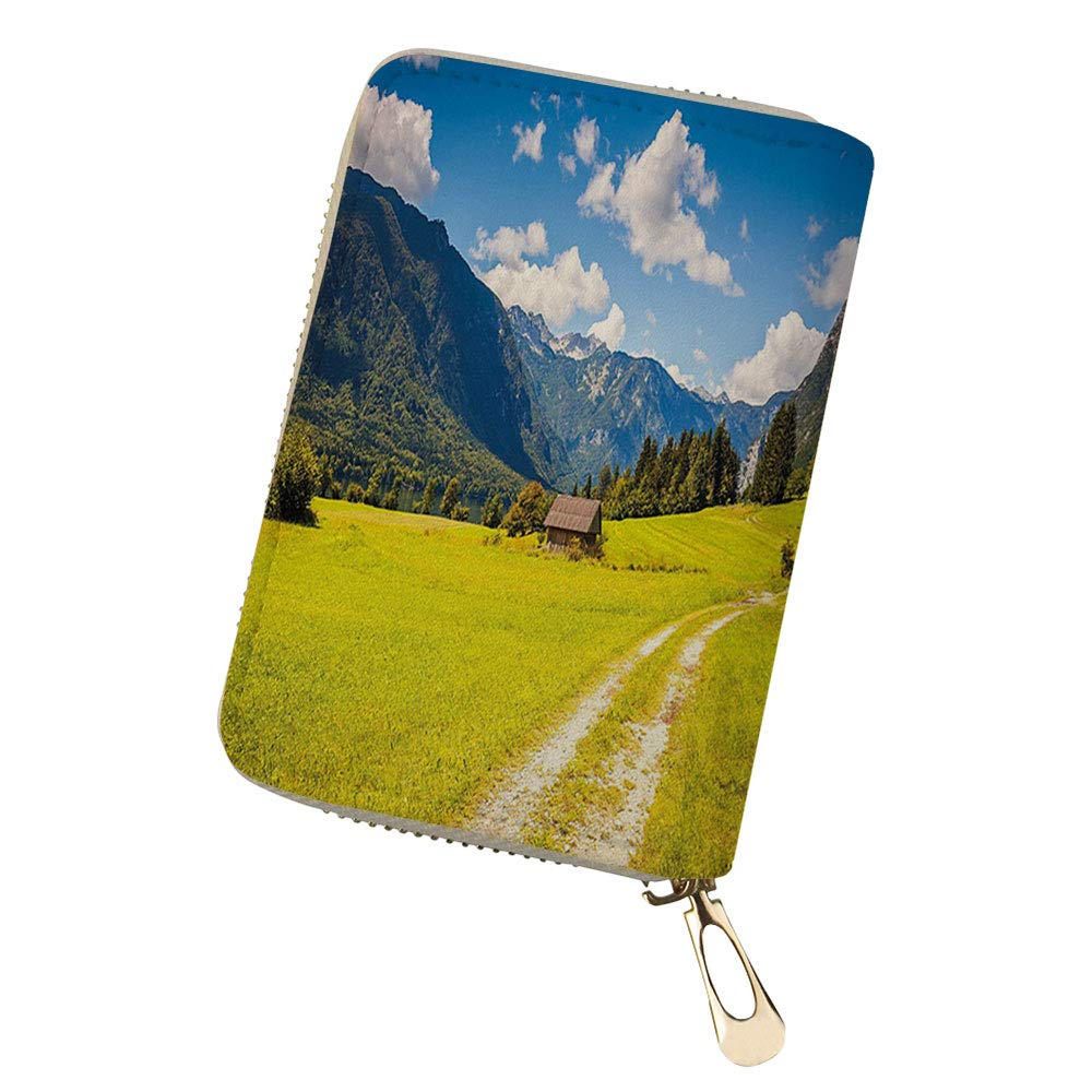RFID Blocking Credit Card Holder rees and Bushes Idy Leather Zipper Card Case