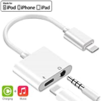 3.5mm Headphone Jack Adapter Charger for iPhone 8/8 Plus/ 7/7 Plus/X/10/XS/XS Max/XR Earphone Charging and Listening Music 3.5mm Aux Audio and Charging Adapter Adapter
