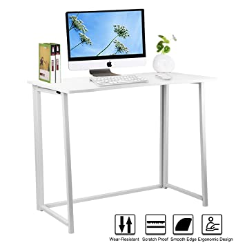 Computer Desk,LASUAVY Wooden Folding Office Desk /Computer Workstation/ Collapsible Laptop Table With