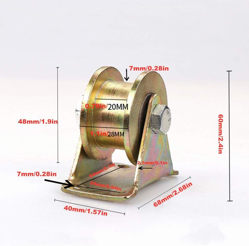 Ruedas con forma de H, ruedas de muebles pesados, polea direccional H-Groove, 45# acero, color galvanizado, herraje para puerta corredera, máquinas industriales, cuerda metálica: Amazon.es: Bricolaje y herramientas