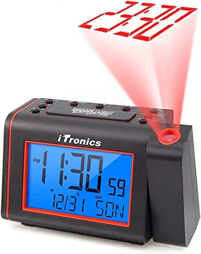 iTronics Projection Alarm Clock Radios for Bedroom, Alarm Clock with AM FM Radio, Adjustable Loud Alarm and Backlight LCD Big Digits, Alarm Clock Radio with Projection on Ceiling, USB Phone Charger