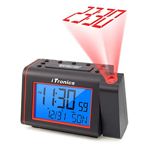 iTronics Projection Alarm Clock Radios for Bedroom, Alarm Clock with AM/FM  Radio, Adjustable Loud Alarm and Backlight LCD Big Digits, Alarm Clock ...