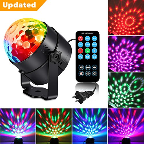 Upgraded Remote Kingso Dj Light, Sound Activated Party Light Mini Disco Ball Rotating Magic Strobe Club lighting Effect Led Stage Lights With Remote For KTV Xmas Wedding Show Pub - RGB - Led Disco Lighting Effect