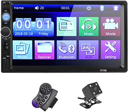 """7 /"""" Double 2 Din Touch Screen Car Stereo Radio MP5 Player BT with Camera"""