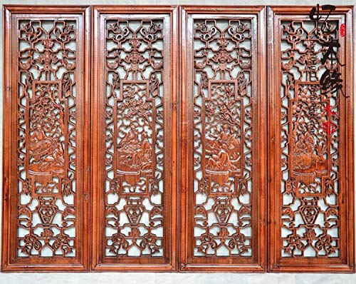 - Ochoos woodcarving, Camphor Wood, Wood Carving, Flower Plate, Antique Chinese Style, Four Sets of Wall Pendant, Carved Screen,