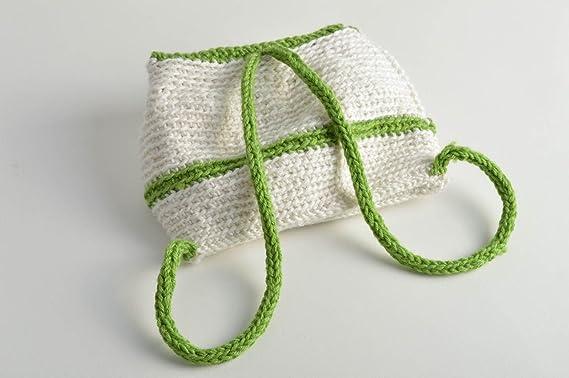 Mochila tejida a crochet para ninos artesanal de moda de color blanquiverde: Amazon.es: Hogar