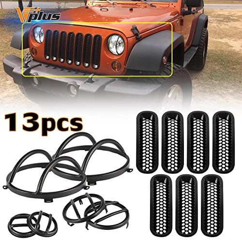 Vplus (13pcs) Black Headlight Guard Covers & Side Fender & Front Turn Signal Protectors & Front Grille Insert Compatible with Jeep Wrangler JK TJ 2007-2016