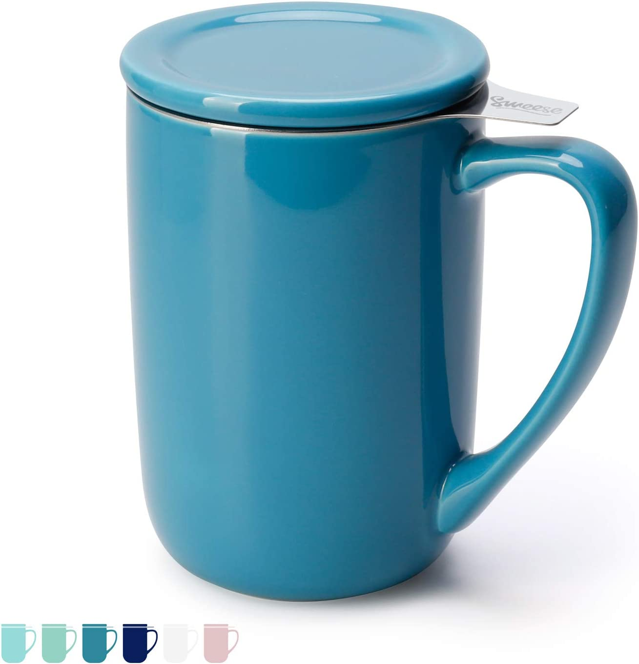 Sweese 203.107 Ceramic Tea Mug with Infuser and Lid, Single Cup Loose Tea Brewing System, Draw Your Own Design, 16 OZ, Steel Blue