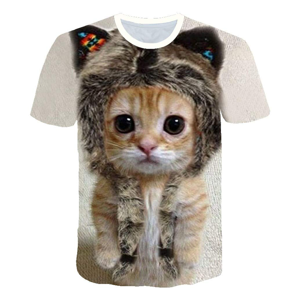 NANTE Top Womens Blouses Funny 3D Cat Print Short Sleeve T-Shirt Cat Lover Tee Shirts Pet Lovers Tunic Tops