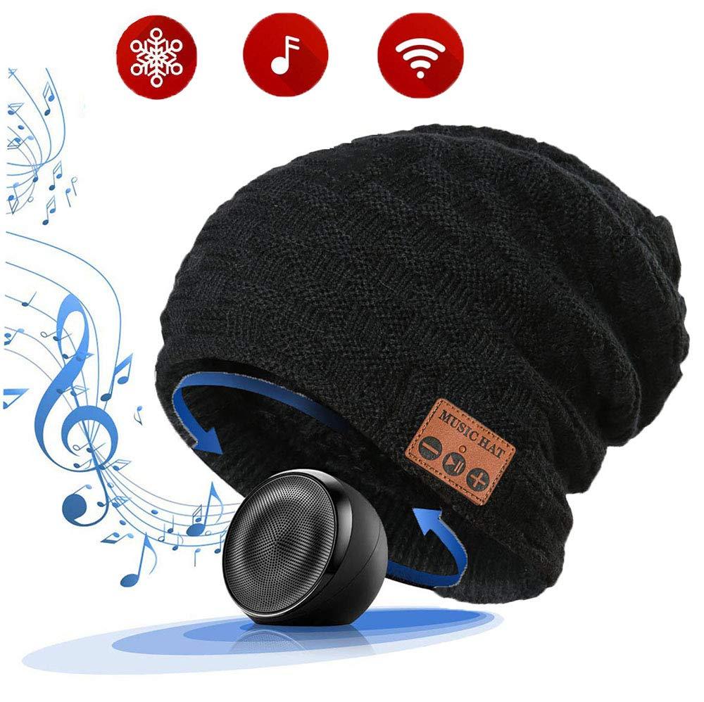 LiiFUNG 028 Wireless Bluetooth 5.0 Beanie Hat with Headphones | Great Christmas Tech Gifts for Teen Boys/Girls/Boyfriend/Him/Husband/Men/Dad/Women/ Stocking Stuffers/Built-in HD Speaker & Mic - Black