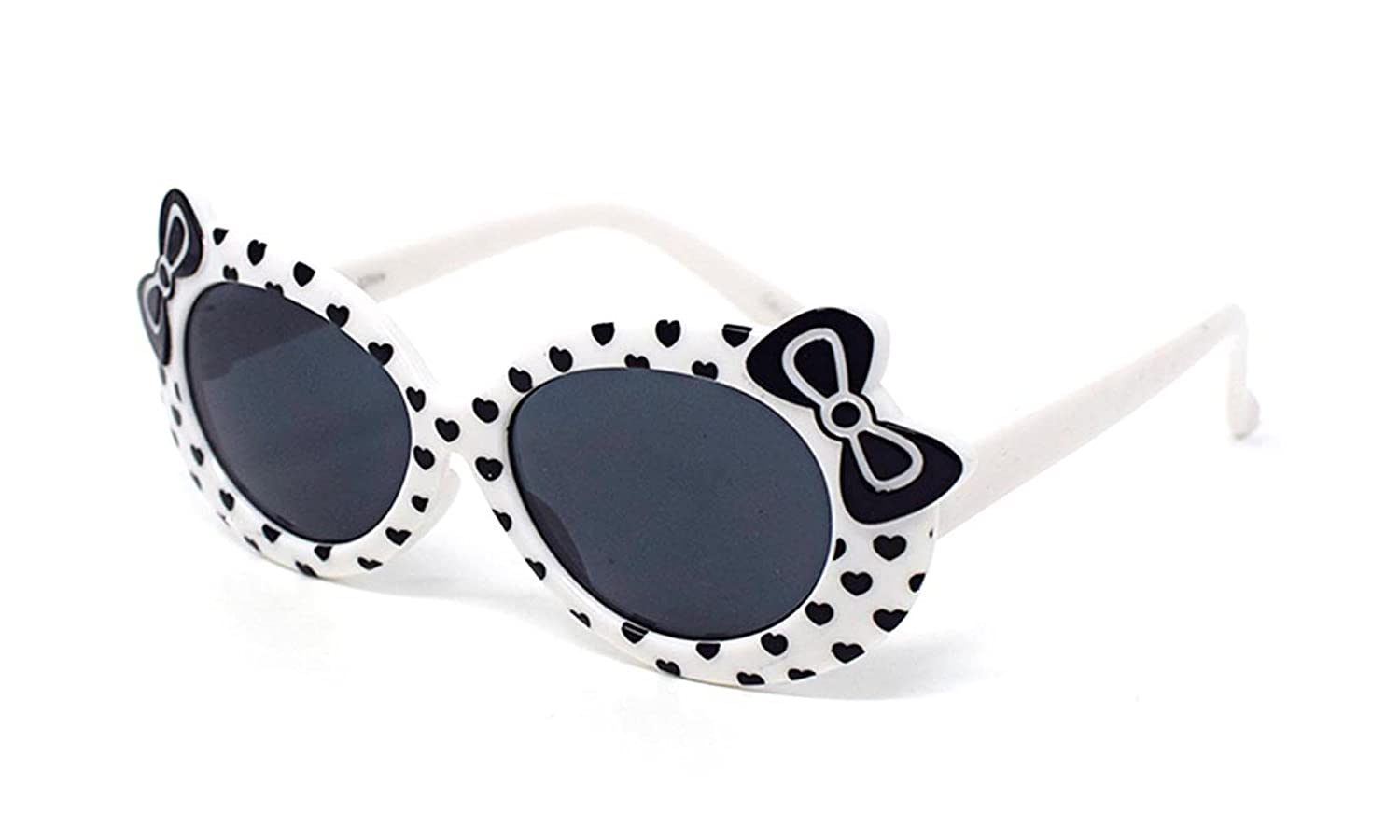 1 x White 1 x Purple Coloured Childrens Kids Girls Stylish Cute Designer Style Sunglasses High Quality with a Bow and heart Style UV400 Sunglasses Shades UVA UVB Protection