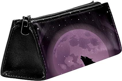 EZIOLY - Estuche para lápices y cosméticos, diseño de lobos aullando en la luna llena: Amazon.es: Oficina y papelería