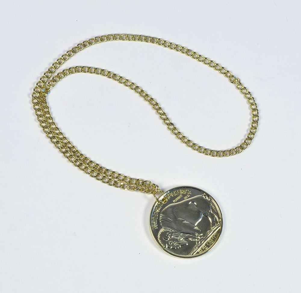 1970/'s Plastic Peace Medallion Gold Fancy Dress Metal Chain 70s Accessory