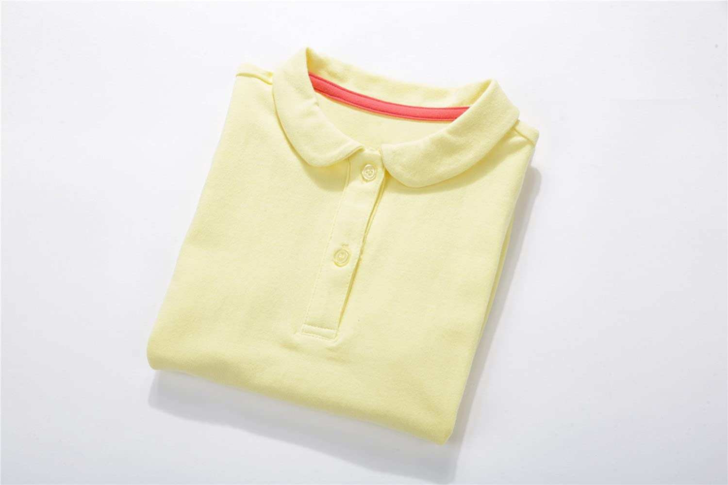 UNACOO Toddler Girls Polo Shirts with Picot Collar Cotton Short Sleeves