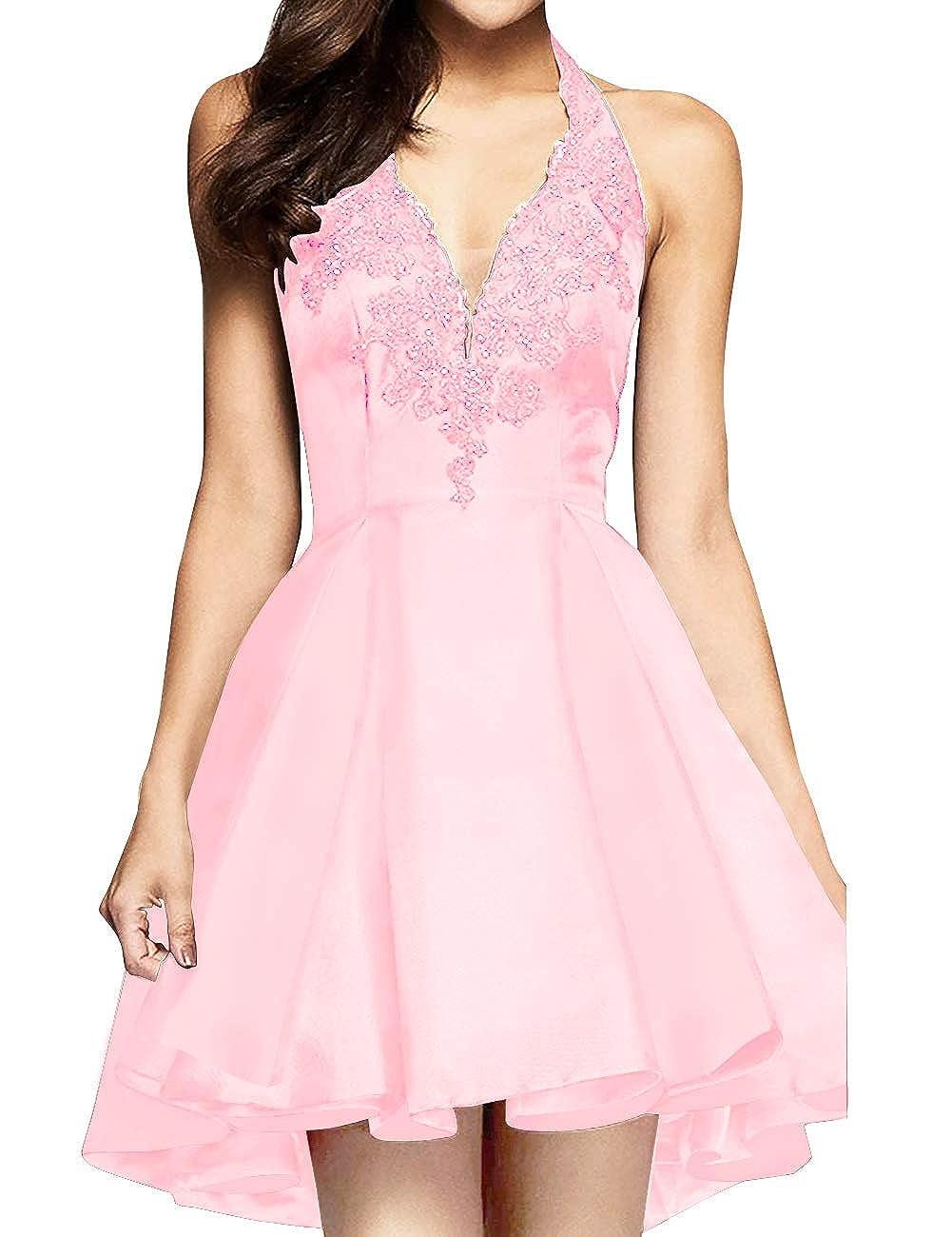 bluesh Pink MorySong Women's Applique Lace Satin Halter Neck Short Homecoming Cocktail Dress