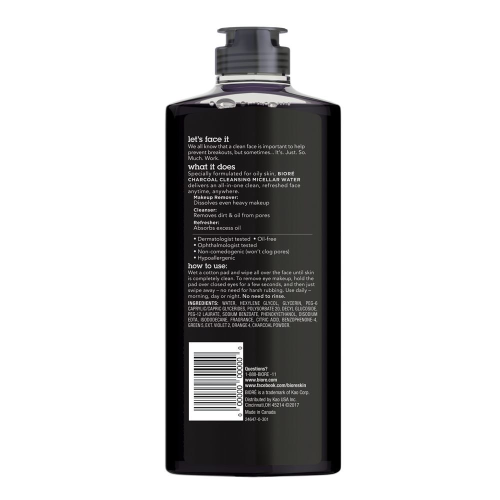 Biore Charcoal Cleansing Make Up Removing Micellar Water For Oily Oil 150ml Remover Skin 300 Ml Beauty