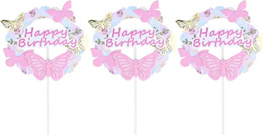 Amazon Com Amosfun 3 Pcs Happy Birthday Cake Topper Butterfly Cupcake Toppers Birthday Party Cake Decoration Pink Kitchen Dining