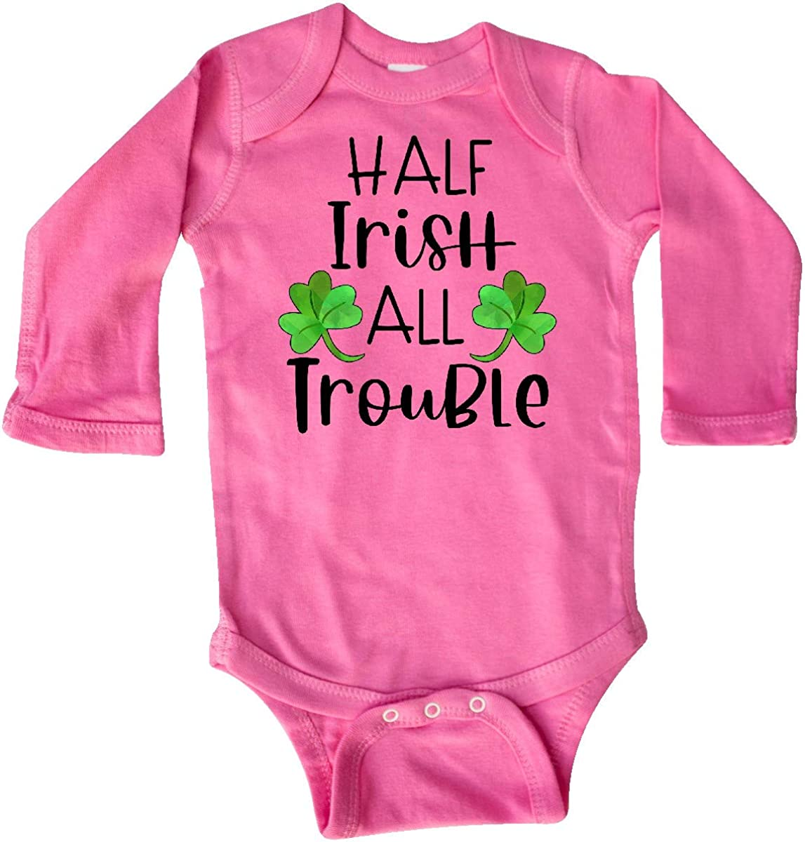 inktastic Half Irish All Trouble with Green Clovers Long Sleeve Creeper