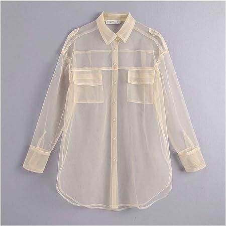 YuQuanXin Bolsillo De La Camisa Camisa De Tul para Mujeres (Color : White, Size : M): Amazon.es: Hogar