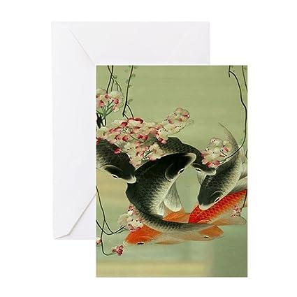 Amazon cafepress zen japanese koi fish greeting cards cafepress zen japanese koi fish greeting cards greeting card 10 pack m4hsunfo