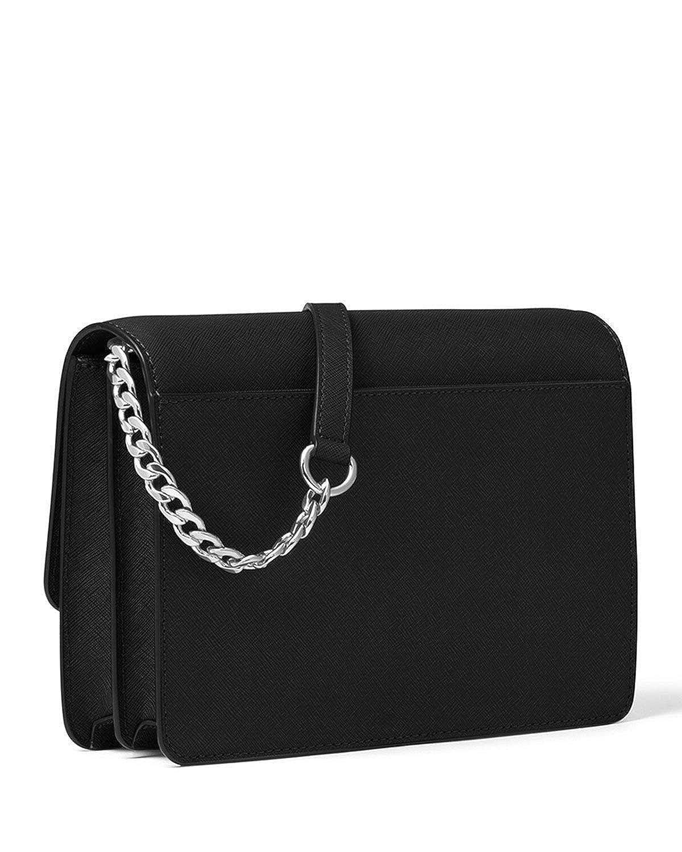 6e912d57e76b4 MICHAEL Michael Kors Daniela Large Black Silver Saffiano Leather Crossbody  Bag  Handbags  Amazon.com