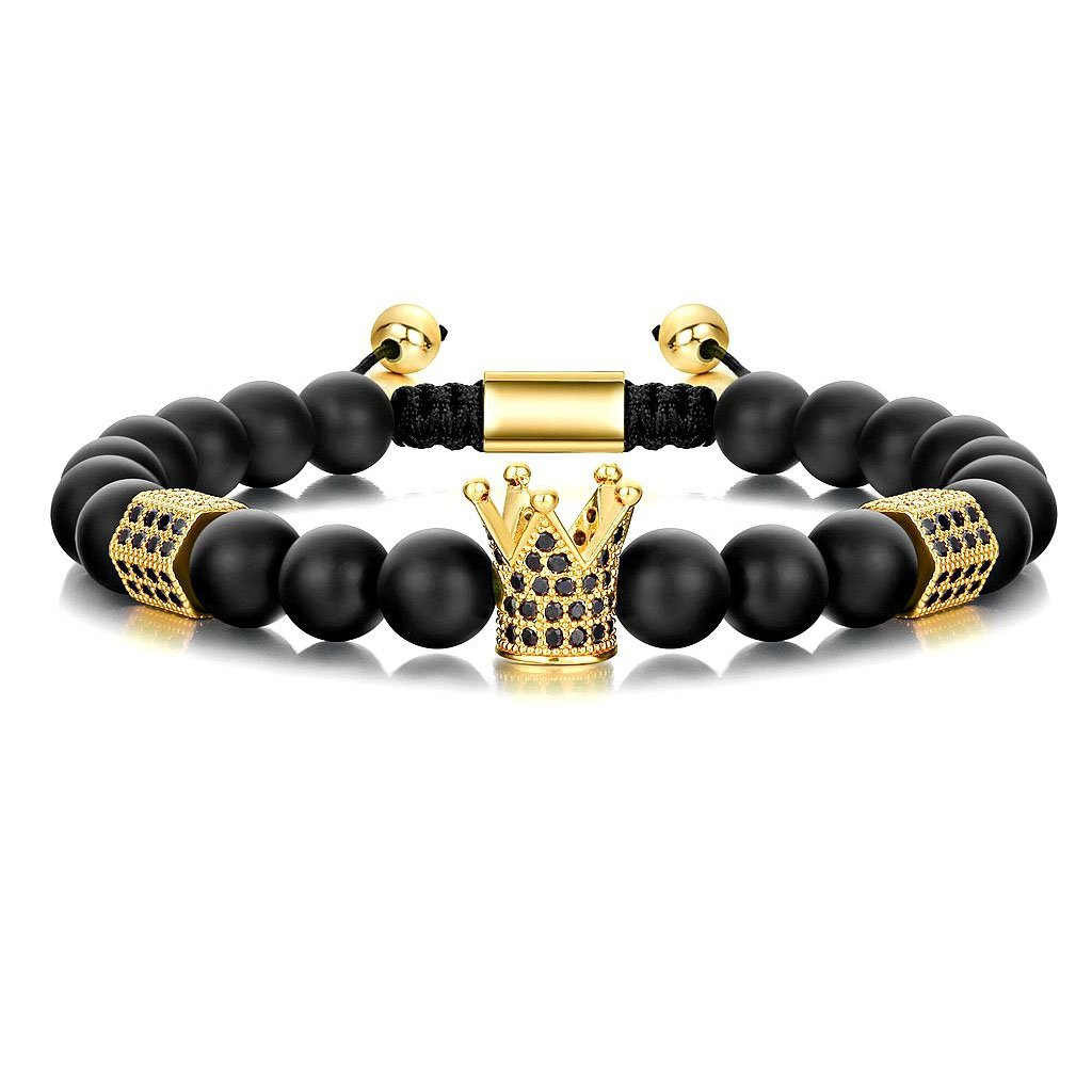 Joan Nunu Adjustable Handmade Cubic Ziron Crown 8mm Beads Bracelet for Men Freindship Jewelry