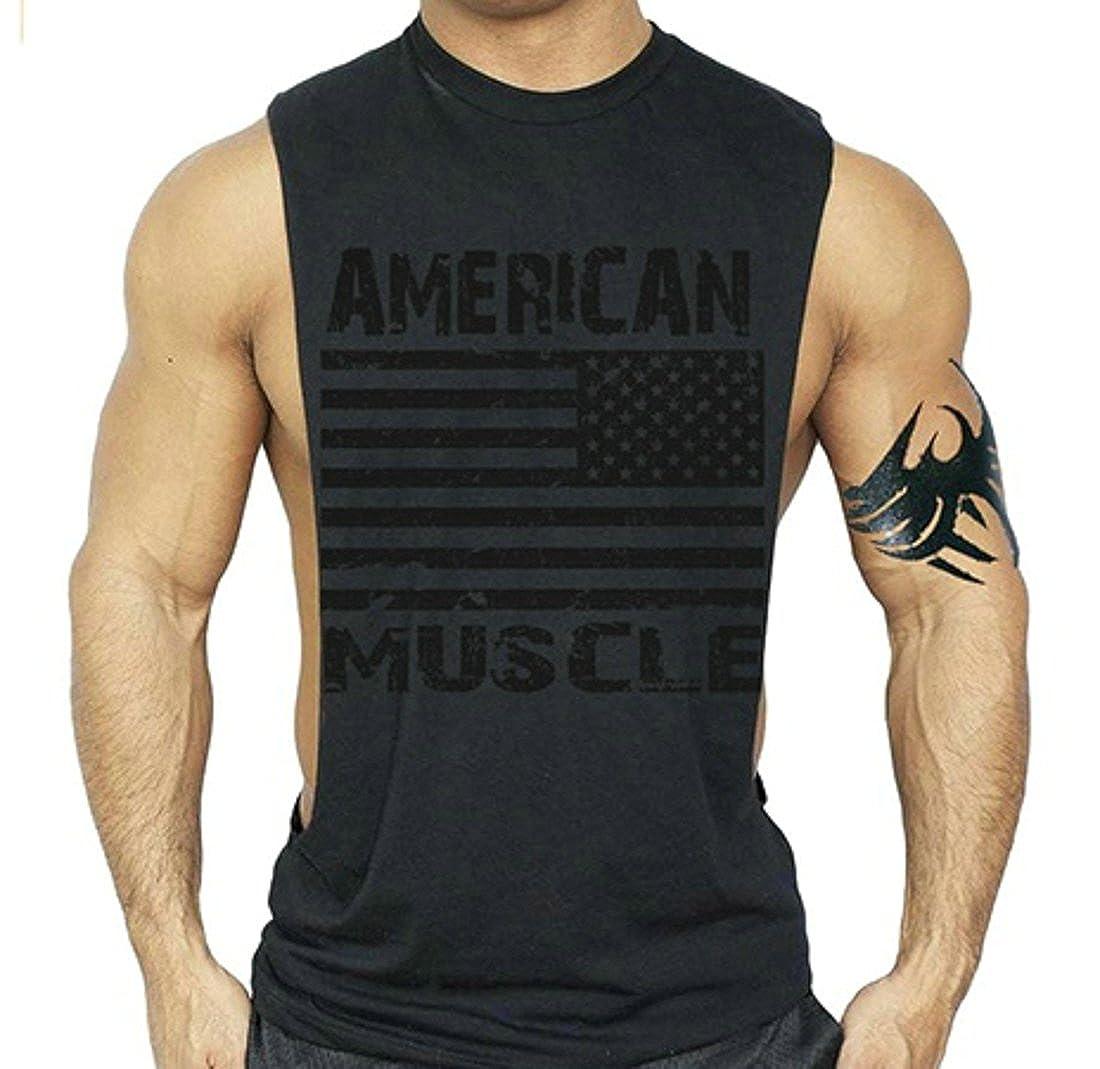 Ffox Mens Fashion Print Side opening Bodybuilding Gym Tank T-Shirt