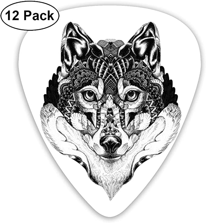 12 Pack Guitar Picks Wolf.png Think, Medium and Heavy,Unique Guitar Gift for Bass, Electric & Acoustic Guitars: Amazon.es: Instrumentos musicales