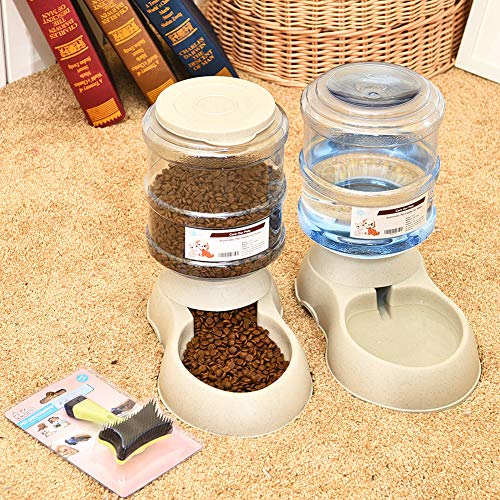Mingzheng Automatic Gravity Cat Food and Water Feeder Waterer Dispenser Set with Slicker Brush for Dog Pet Puppy Kitten Big Capacity 3.8 L x 2