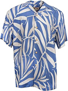 product image for Palm Fronds - Men's Hawaiian Print Aloha Shirt - in Blue