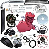Seeutek 80cc Bicycle Engine Kit 2 Stroke Gas Motorized Motor Bike Kit Red Color Upgrade with Speedometer