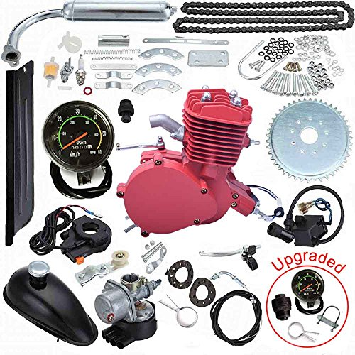 Seeutek 80cc Bicycle Engine Kit 2 Stroke Gas Motorized Motor Bike Kit Red Color Upgrade Engine with Speedometer