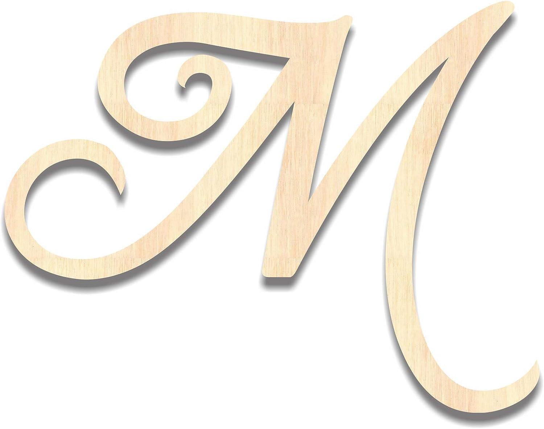 Back40Life - Precision Cut Wood Brush Calligraphy Script Monogram Letter - M Medium