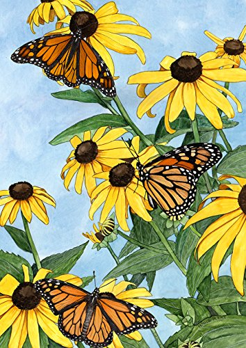 Toland Home Garden Coneflowers and Monarchs 28 x 40 Inch Decorative Spring Butterfly Flowers Watercolor House Flag - 1012133