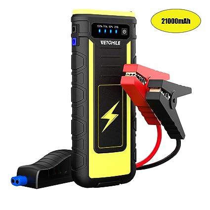 VETOMILE Auto Starthilfe Powerbank 800A 21000mAh mit LED bis zu 6,5L Benzi 3,0L Diesel, 12V Tragbare Autobatterie Anlasser