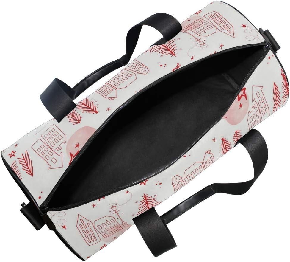 MALPLENA Simple House Pine Needles Drawing Drum gym duffel bag women Travel Bag
