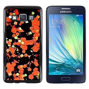 LECELL--Funda protectora / Cubierta / Piel For Samsung Galaxy A3 SM-A300 -- Art Abstract Paper Orange Black --