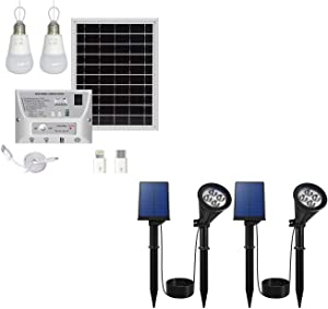 YINGHAO Solar Light Indoor Home with 2 Hanging LED Buld & Solar Spot Lights Outdoor 2 Pack Bundle