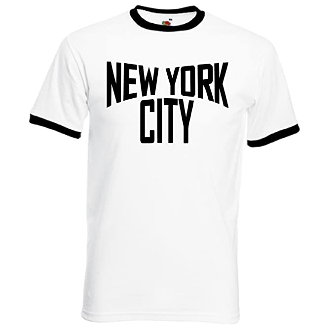 New York City T-Shirt, White T-shirt with Black Trim and Print