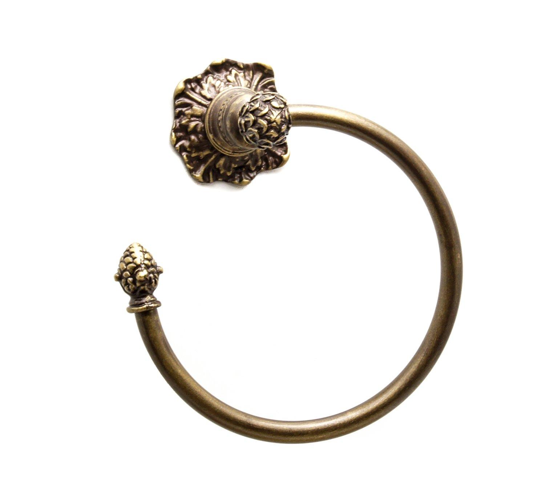 Carpe Diem Hardware 474-3 Bienvenue Towel Ring, Antique Brass